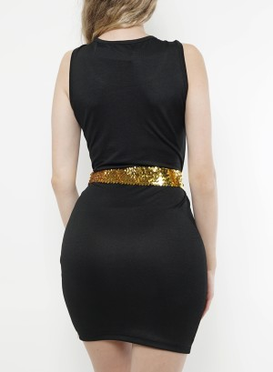 Sleeveless scoop neckline, gold-sequin-detail belt body con dress. 2014205-Black