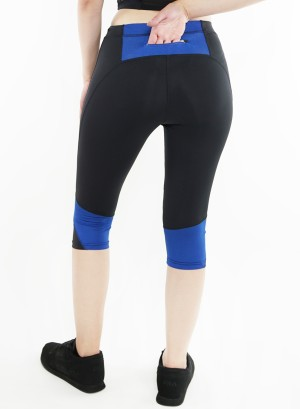 Stretched active Capri-leggings. 2015001-Black/Royal Blue