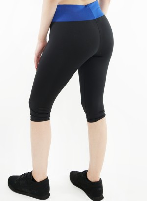 Stretched active Capri-leggings.2015062-Black/Blue