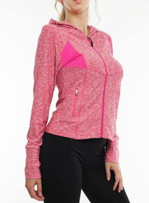 Long sleeves  zip-front marled active top. 2015183- Marled Pink