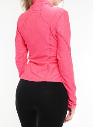Long sleeves  zip-front marled active top. 2015183-Neon Pink