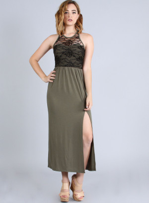 Scoop neckline, sleeveless racer back lace yoke top high-slit maxi dress. WH-22846-OLIVE