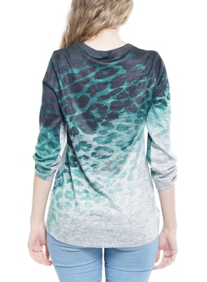 3/4 Sleeve Tie-Knot Detail Tie-Dye Top  25531A0013-Grey/Green