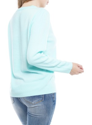 Long Sleeve Round Neck Sweater 4148-Mint
