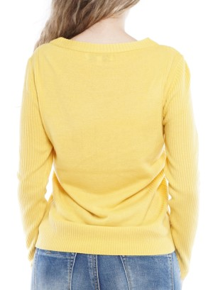 Long Sleeve Round Neck Sweater 4148-Yellow