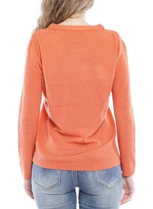 Long Sleeve Round Neck Sweater 4148-Orange