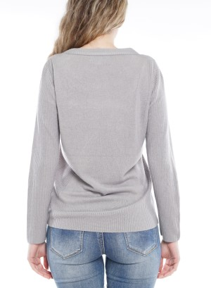 Long Sleeve Round Neck Sweater 4148-Grey