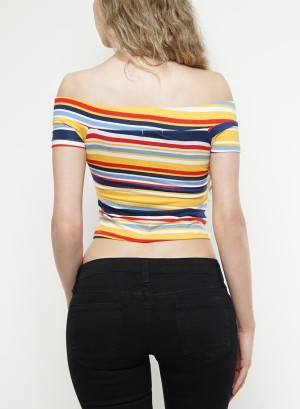 Short sleeves tie-front stripe off-shoulder top. 42270R21ST-BLUE