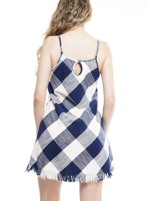 Adjustable Spaghetti Straps Cut Out Plaid Dress 50561A0001-Navy/white