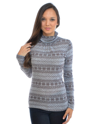 Long sleeves printed, turtle neck top- 5130201F-GRAY/BROWN