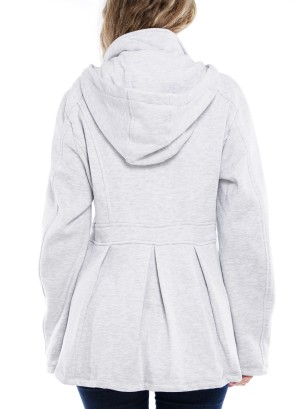 Long Sleeve Side-Pockets Button-Down Pleated Hooded Jacket. 513443-Grey