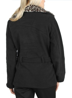 BLACK CHEETAH BELTED COAT.52353-BLACK CHEETAH