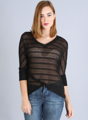 Semi V-neck, dolman quarter sleeve, see-through, hi low tulip hem top - 68271990J-BLACK