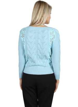 LACE KNIT THREE-QUARTER SLEEVE SWEATER-715110810-BLUE