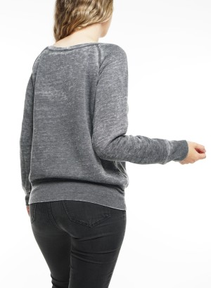 Long Sleeve Fleece Crew neck sweater 7501-Grey