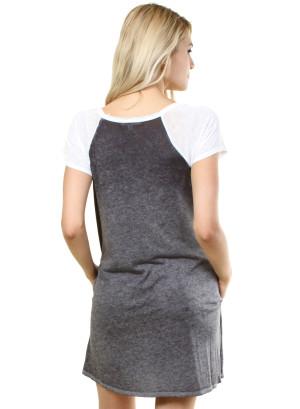 Round neck raglan t-shirt dress. WH-91820K64-CEMENT/WHITE