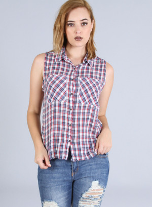 Sleeveless, turn down collar, button down plaid top-96225-RED BLUE