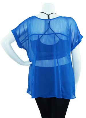 Short sleeves with Stud detail hem chiffon plus size top. FH-B5384MBFB-ROYAL BLUE
