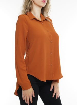 Button down hi-low slit-back long sleeves top.B8767-Orange