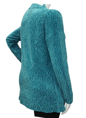 V-NECKLINE CHENELLE PLUS SIZE SWEATER TOP. BFT-03159-  TEAL