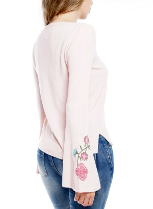 Bell Sleeve  Embroidered Detail Top Size BFT-10667-Pink