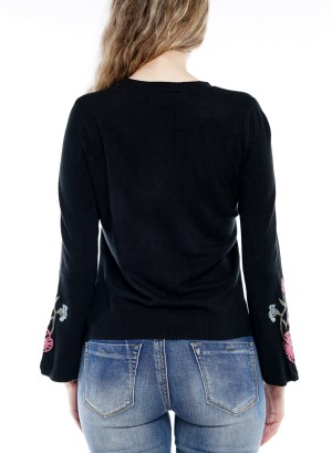 Bell Sleeve  Embroidered Detail Top Size BFT-10667-Black