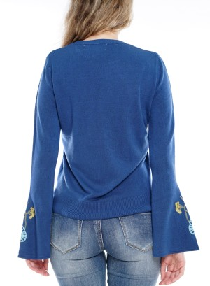 Bell Sleeve  Embroidered Detail Top Size BFT-10667-Blue
