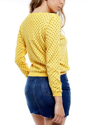 Long Sleeve Round-Neck Dots Sweater BFT-10669-Yellow