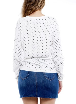 Long Sleeve Round-Neck Dots Sweater BFT-10669-White