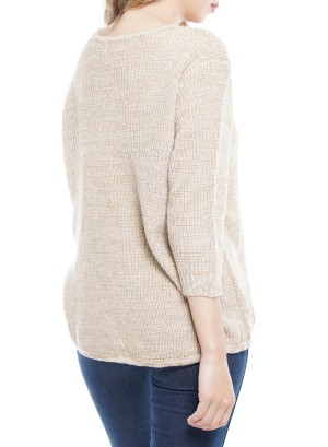 3/4 Sleeves V-Neck Knitted Sweater. BFT-1124-Sand