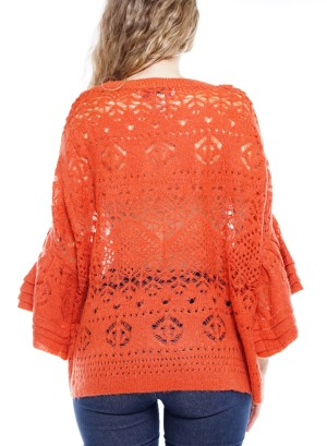 Layered Bell-Sleeve  Crochet Top. BFT-11309-Rust