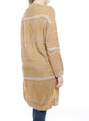 Long Sleeve Aztec Open Knit Cardigan. BFT-11674-Mustard