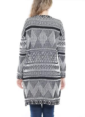 Long Sleeve Aztec Open Knit Cardigan. BFT-11674-Black
