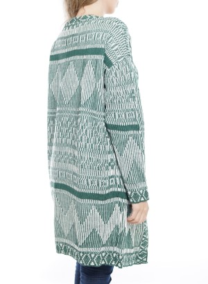 Long Sleeve Aztec Open Knit Cardigan. BFT-11674-Green