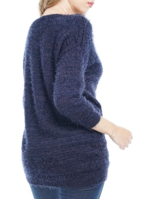 3/4 Sleeves V-Neck Knitted Sweater. BFT-11942-Navy