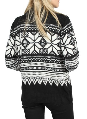 Turtle Neck long Sleeves Holiday Sweater.LC-139852-BLACK&WHITE