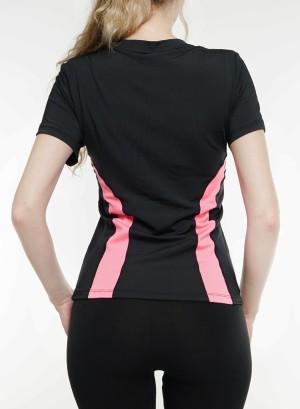 Short sleeves cutout-back snake-print detail side top. 201053-Black/Pink