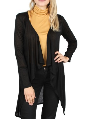 Draped front Open Cardigan. MJ41017-BLACK
