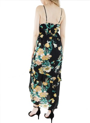 Spaghetti-straps Ruffled-hi low front floral maxi dress J12228VBRK-Black Floral