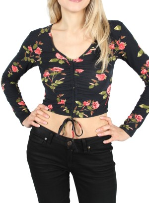 Long sleeves V-neckline Drawstring front Floral crop top. R21112618-NAVY FLORAL