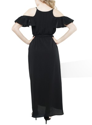 Ruffled Cold shoulder tie-waist maxi dress. 12086WB3-Black