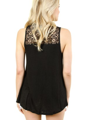 WOMEN'S SLEEVELESS LACE TOP. FH-F00242402-BLACK