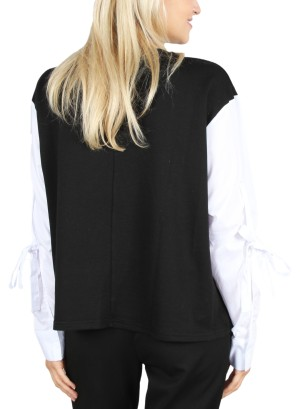 TIE-SLEEVE LONG SLEEVE TOP. FH-IT2066-BLACK/WHITE