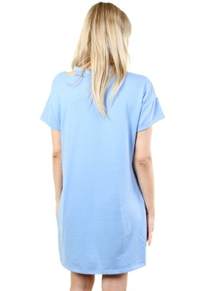 Women's cold shoulder top dress with graphic. FH-MBD7095-BLUE