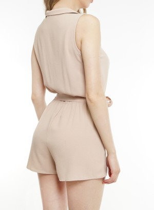 Sleeveless collared over-lapping front 2-front pockets tie-waist romper. BNV-R22992-Mocha