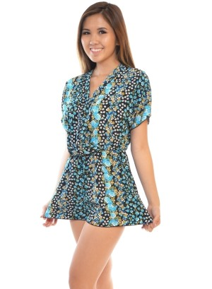 Short sleeve, surplice neck, floral print romper.WH-BR7005-BLACK/BLUE