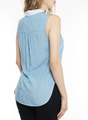 Short sleeve button-down collared top.BRQ-B7684- Denim Blue