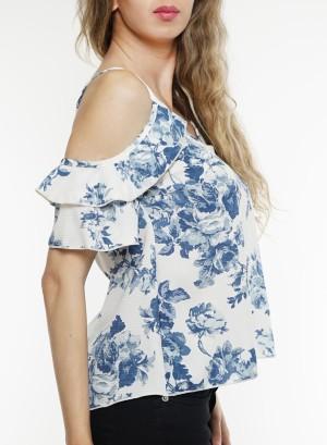 Cold-shoulder flare-sleeves floral top. BT-1984P-WhiteBlue