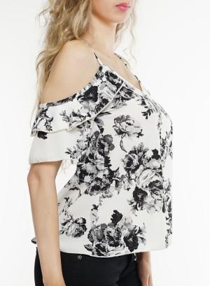 Cold-shoulder flare-sleeves floral top. BT-1984P-WhiteBlack