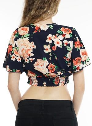 Short sleeve smocked v-neck crop top. Bt-2215 Navy Floral